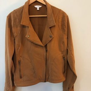 Time and Tru Knit Moto Jacket Brown XL 16-18 NWOT